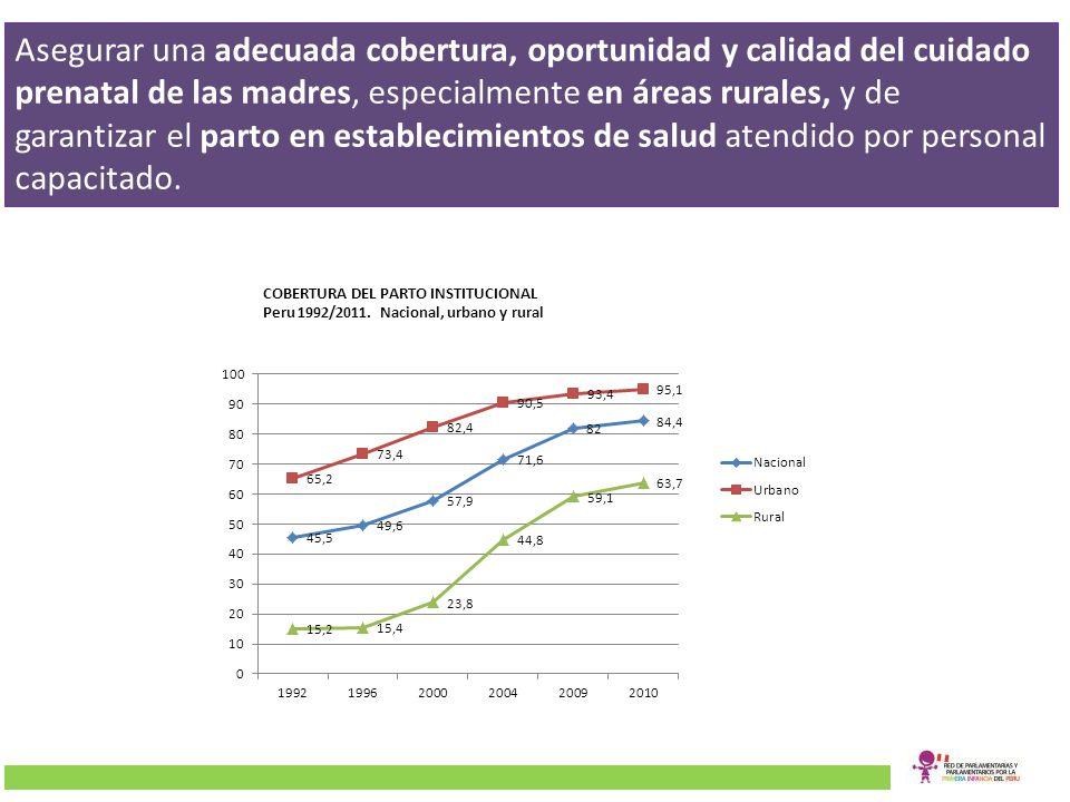 Partos Atentidos por Profesionales de Salud Por área de residencia (1996-2009)Por lengua materna de la madre (2009) Fuente: Elaboración propia en base a las ENDES 1996, 2004-2006 y 2009, INEI.