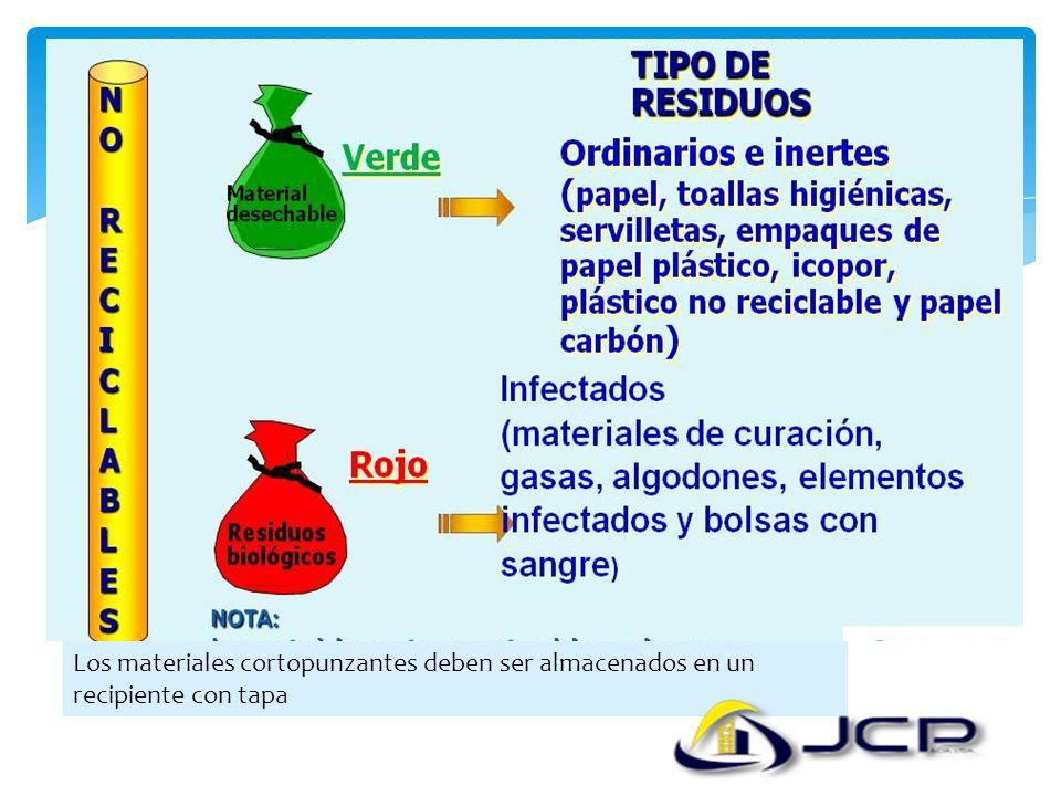 Los materiales cortopunzantes deben ser almacenados en un recipiente con tapa