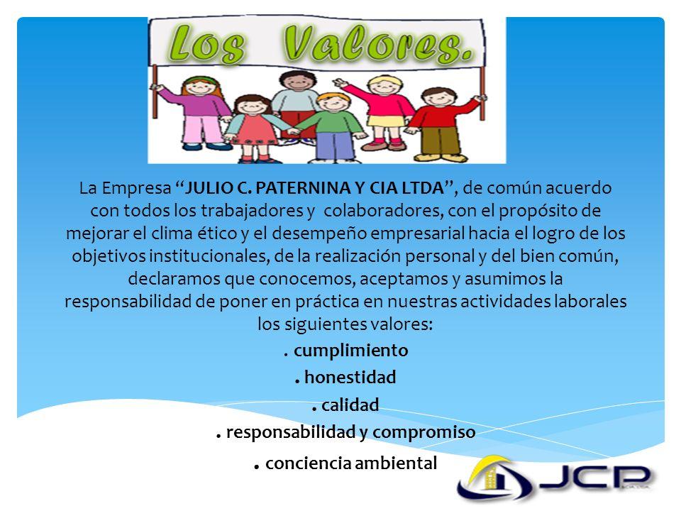 La Empresa JULIO C. PATERNINA Y CIA LTDA, de común acuerdo con todos los trabajadores y colaboradores, con el propósito de mejorar el clima ético y el