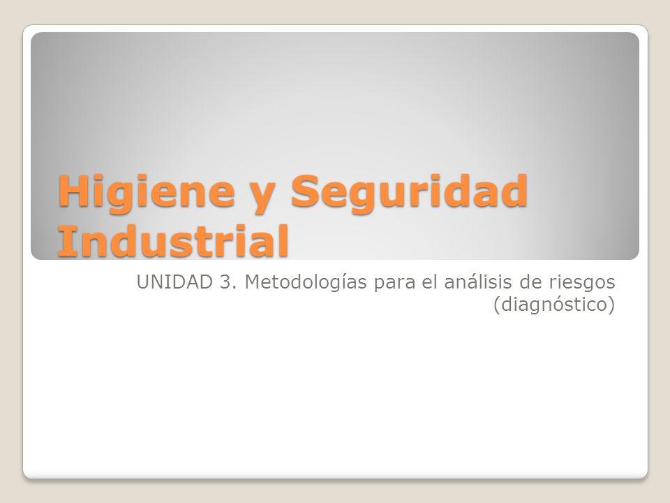 Higiene y Seguridad Industrial UNIDAD 3. Metodologías para el análisis de riesgos (diagnóstico)