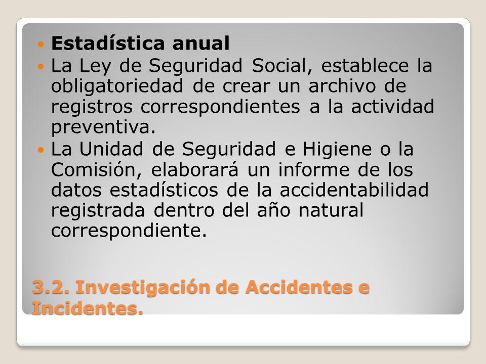 3.2. Investigación de Accidentes e Incidentes. Estadística anual La Ley de Seguridad Social, establece la obligatoriedad de crear un archivo de regist