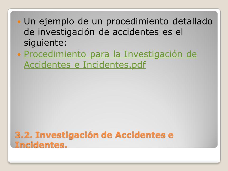 3.2. Investigación de Accidentes e Incidentes. Un ejemplo de un procedimiento detallado de investigación de accidentes es el siguiente: Procedimiento