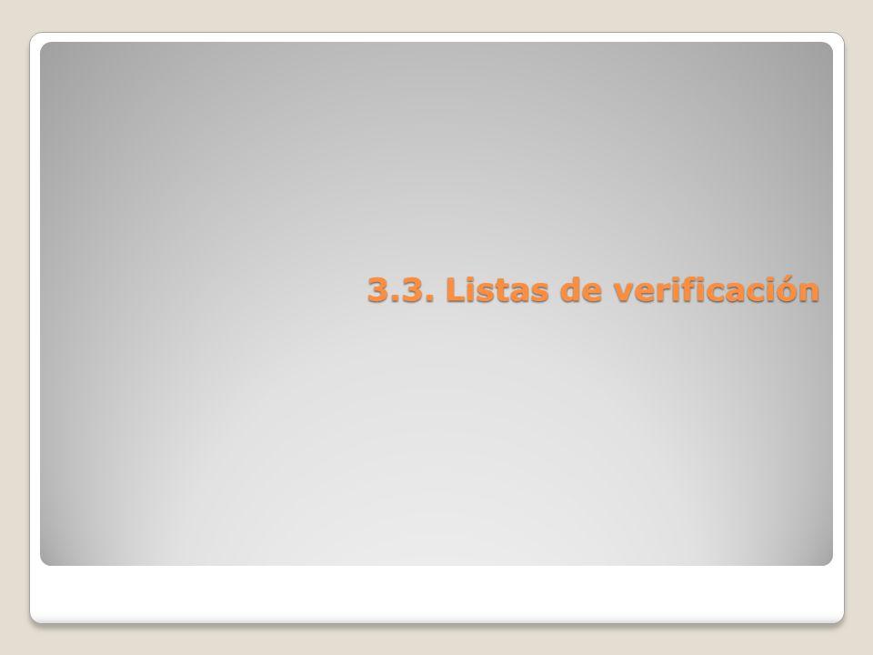 3.3. Listas de verificación