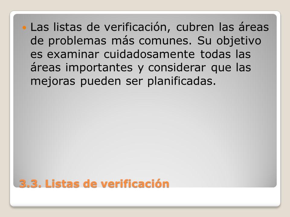 Las listas de verificación, cubren las áreas de problemas más comunes. Su objetivo es examinar cuidadosamente todas las áreas importantes y considerar