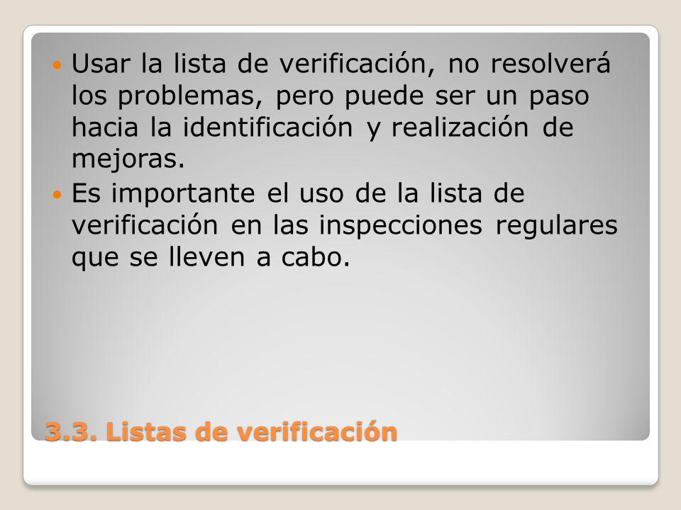 3.3. Listas de verificación Usar la lista de verificación, no resolverá los problemas, pero puede ser un paso hacia la identificación y realización de