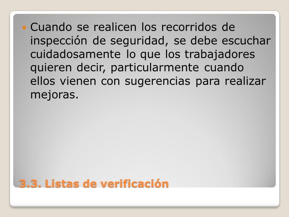 3.3. Listas de verificación Cuando se realicen los recorridos de inspección de seguridad, se debe escuchar cuidadosamente lo que los trabajadores quie