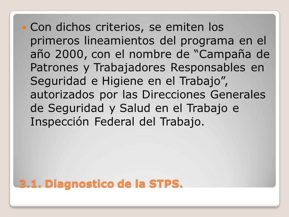 3.1. Diagnostico de la STPS. Con dichos criterios, se emiten los primeros lineamientos del programa en el año 2000, con el nombre de Campaña de Patron