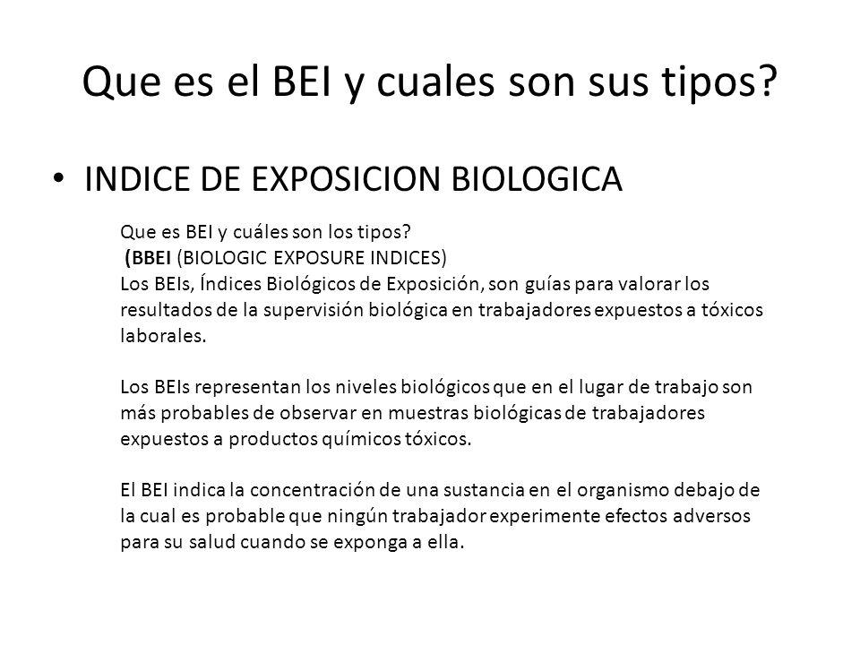 Que es el BEI y cuales son sus tipos? INDICE DE EXPOSICION BIOLOGICA Que es BEI y cuáles son los tipos? (BBEI (BIOLOGIC EXPOSURE INDICES) Los BEIs, Ín