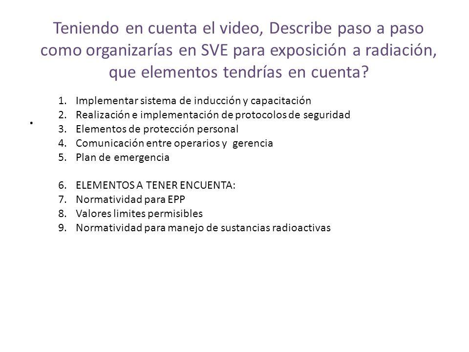 Teniendo en cuenta el video, Describe paso a paso como organizarías en SVE para exposición a radiación, que elementos tendrías en cuenta?. 1.Implement