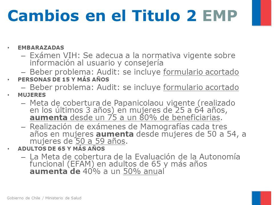 Gobierno de Chile / Ministerio de Salud Cambios en el Titulo 2 EMP EMBARAZADAS – Exámen VIH: Se adecua a la normativa vigente sobre información al usu