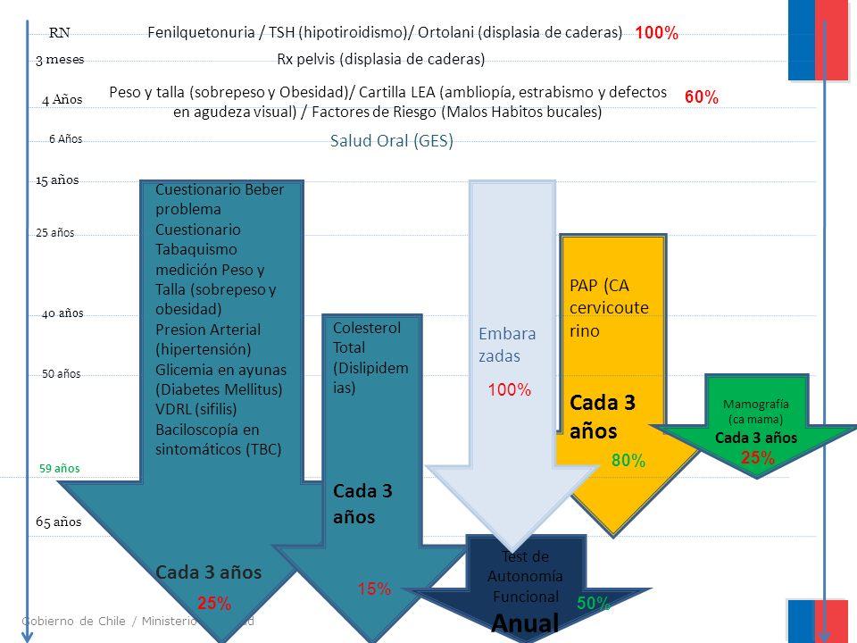 Gobierno de Chile / Ministerio de Salud Fenilquetonuria / TSH (hipotiroidismo)/ Ortolani (displasia de caderas) Rx pelvis (displasia de caderas) Peso y talla (sobrepeso y Obesidad)/ Cartilla LEA (ambliopía, estrabismo y defectos en agudeza visual) / Factores de Riesgo (Malos Habitos bucales) Salud Oral (GES) Cuestionario Beber problema Cuestionario Tabaquismo medición Peso y Talla (sobrepeso y obesidad) Presion Arterial (hipertensión) Glicemia en ayunas (Diabetes Mellitus) VDRL (sifilis) Baciloscopía en sintomáticos (TBC) Cada 3 años PAP (CA cervicoute rino Cada 3 años RN 3 meses 4 Años 6 Años 15 años 25 años 40 años 50 años 59 años 65 años Colesterol Total (Dislipidem ias) Cada 3 años Mamografía (ca mama ) Cada 3 años Test de Autonomía Funcional Anual Embara zadas 100% 60% 25% 15% 100% 80% 25% 50%