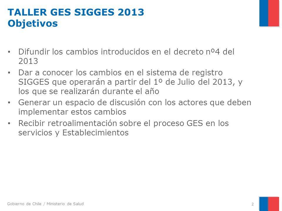Gobierno de Chile / Ministerio de Salud TALLER GES SIGGES 2013 Objetivos Difundir los cambios introducidos en el decreto nº4 del 2013 Dar a conocer lo