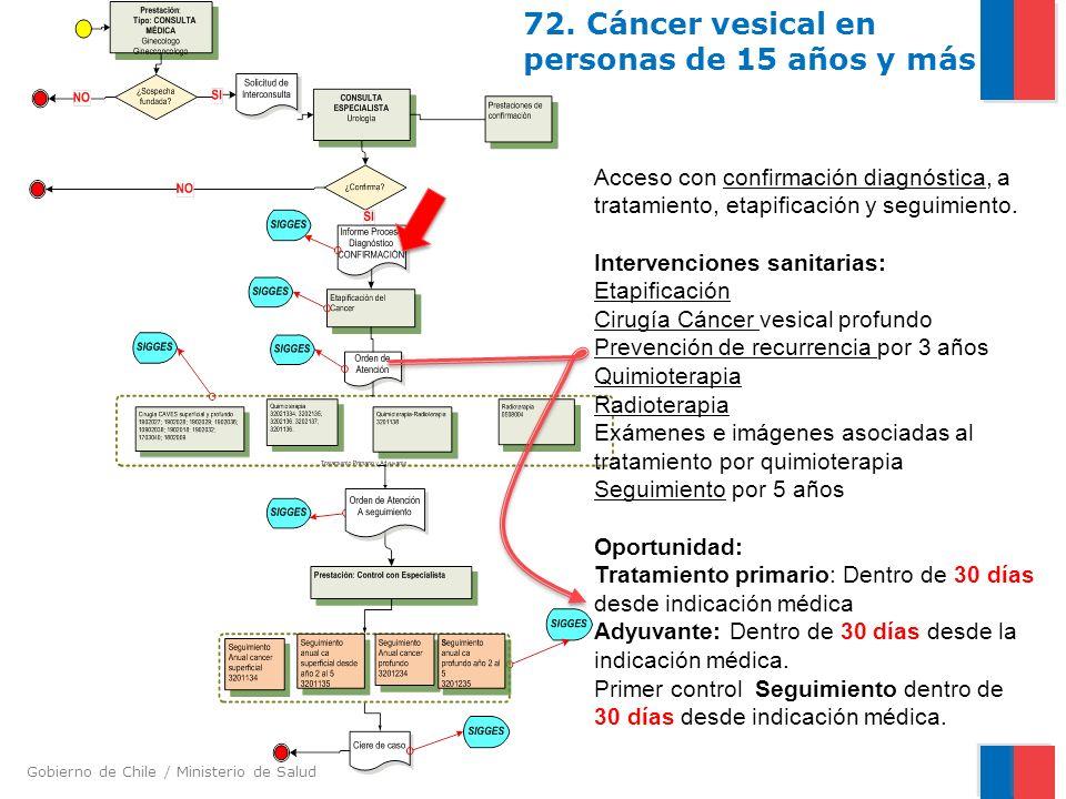 Gobierno de Chile / Ministerio de Salud 72. Cáncer vesical en personas de 15 años y más Acceso con confirmación diagnóstica, a tratamiento, etapificac