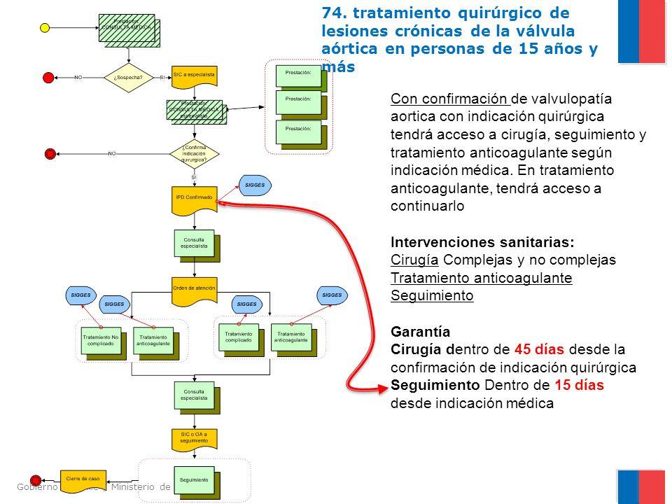 Gobierno de Chile / Ministerio de Salud 74. tratamiento quirúrgico de lesiones crónicas de la válvula aórtica en personas de 15 años y más Con confirm