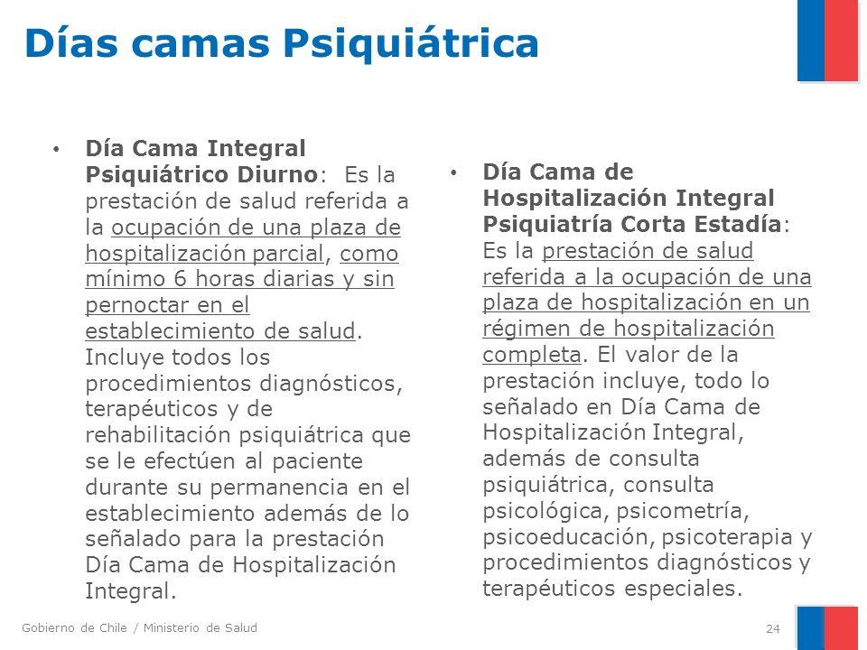 Gobierno de Chile / Ministerio de Salud Días camas Psiquiátrica Día Cama Integral Psiquiátrico Diurno: Es la prestación de salud referida a la ocupación de una plaza de hospitalización parcial, como mínimo 6 horas diarias y sin pernoctar en el establecimiento de salud.