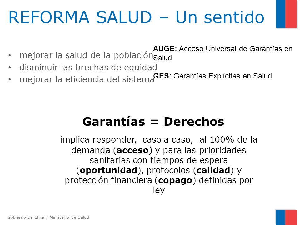 Gobierno de Chile / Ministerio de Salud REFORMA SALUD – Un sentido mejorar la salud de la población disminuir las brechas de equidad mejorar la eficie