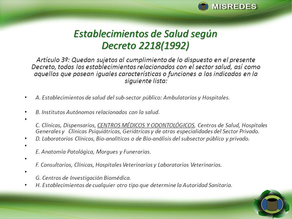 Establecimientos de Salud según Decreto 2218(1992) Artículo 3º: Quedan sujetos al cumplimiento de lo dispuesto en el presente Decreto, todos los estab