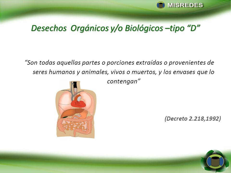 Desechos Orgánicos y/o Biológicos –tipo D Son todas aquellas partes o porciones extraídas o provenientes de seres humanos y animales, vivos o muertos,