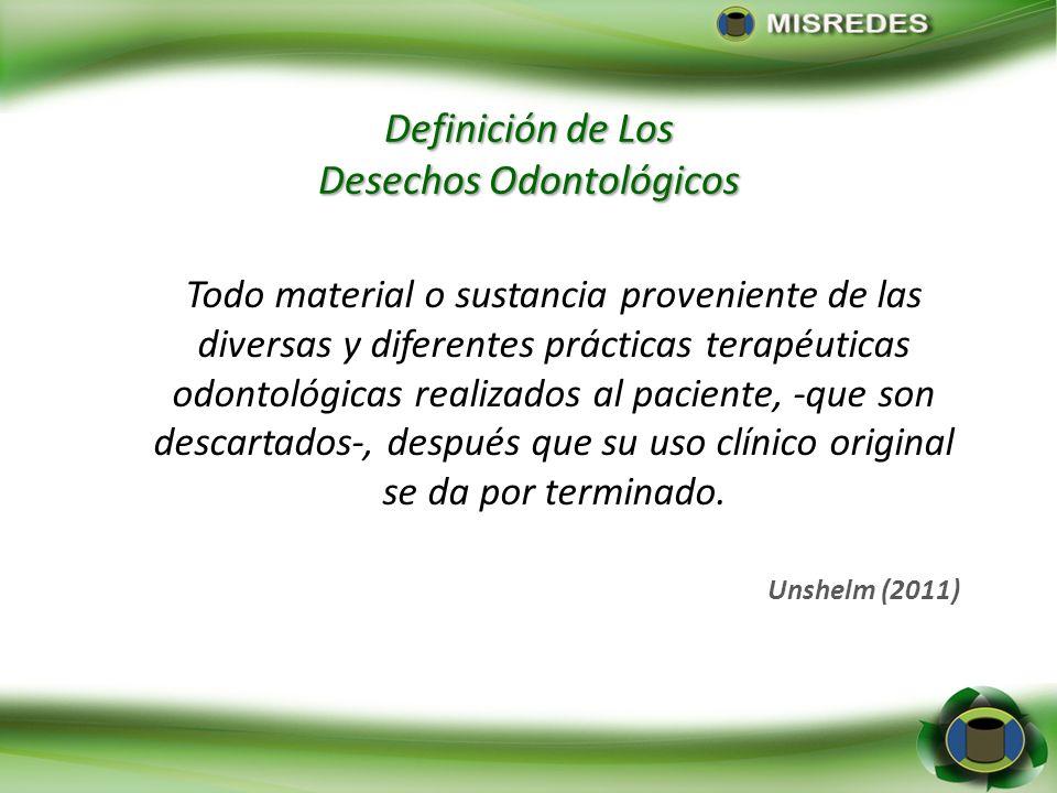 Definición de Los Desechos Odontológicos Todo material o sustancia proveniente de las diversas y diferentes prácticas terapéuticas odontológicas reali