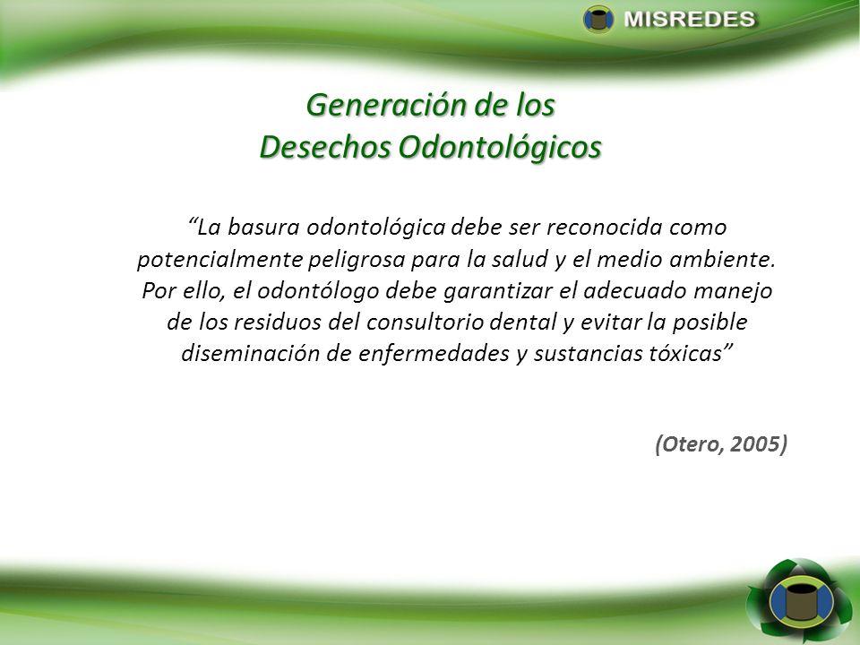 Generación de los Desechos Odontológicos La basura odontológica debe ser reconocida como potencialmente peligrosa para la salud y el medio ambiente. P