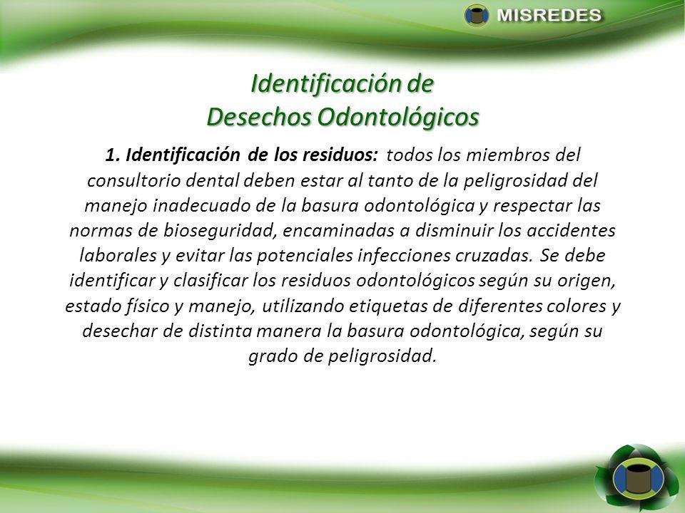 Identificación de Desechos Odontológicos 1. Identificación de los residuos: todos los miembros del consultorio dental deben estar al tanto de la pelig