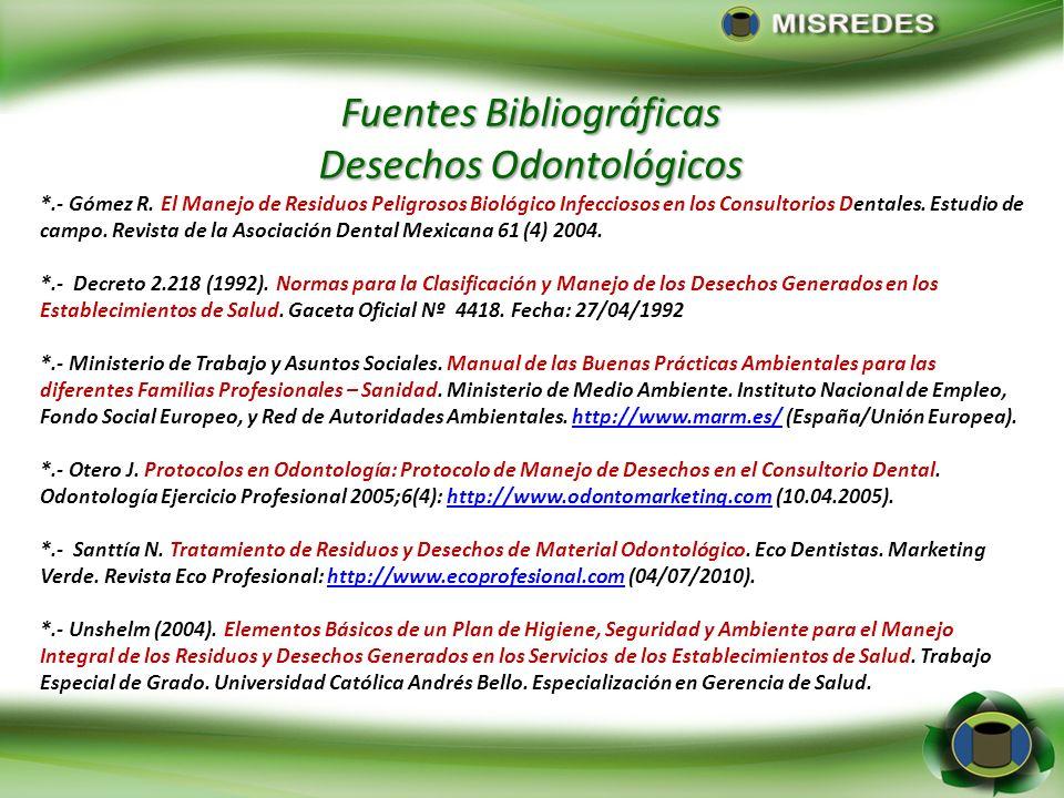 Fuentes Bibliográficas Desechos Odontológicos *.- Gómez R. El Manejo de Residuos Peligrosos Biológico Infecciosos en los Consultorios Dentales. Estudi