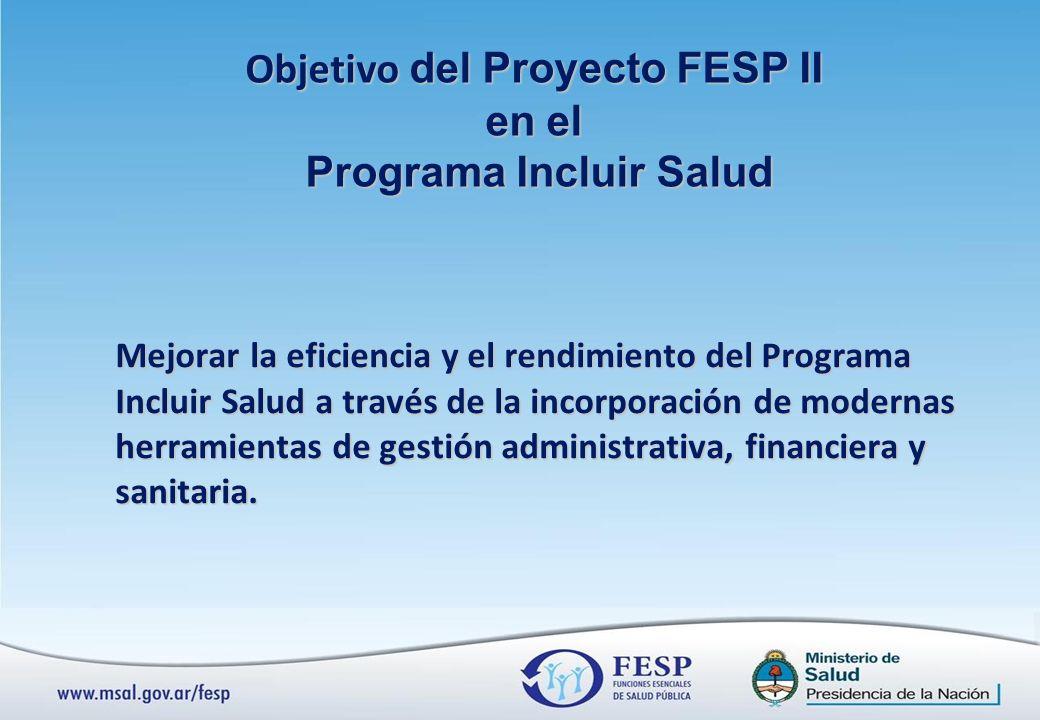 Mejorar la eficiencia y el rendimiento del Programa Incluir Salud a través de la incorporación de modernas herramientas de gestión administrativa, financiera y sanitaria.