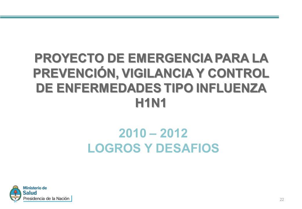 22 PROYECTO DE EMERGENCIA PARA LA PREVENCIÓN, VIGILANCIA Y CONTROL DE ENFERMEDADES TIPO INFLUENZA H1N1 2010 – 2012 LOGROS Y DESAFIOS