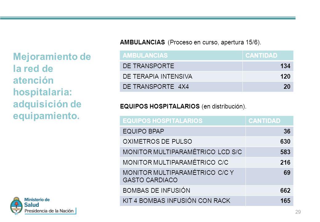 29 Mejoramiento de la red de atención hospitalaria: adquisición de equipamiento.