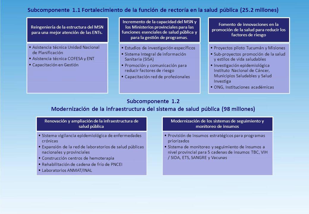 Subcomponente 1.1 Fortalecimiento de la función de rectoría en la salud pública (25.2 millones) Subcomponente 1.2 Modernización de la infraestructura del sistema de salud pública (98 millones)