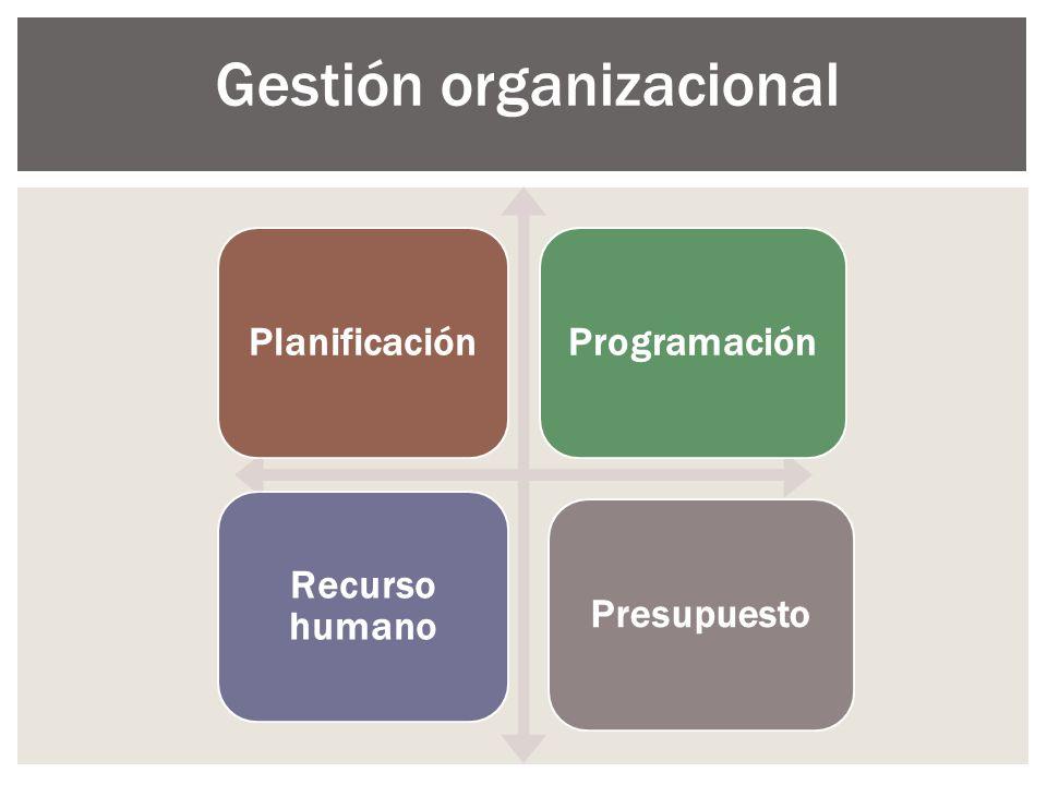 PlanificaciónProgramación Recurso humano Presupuesto Gestión organizacional