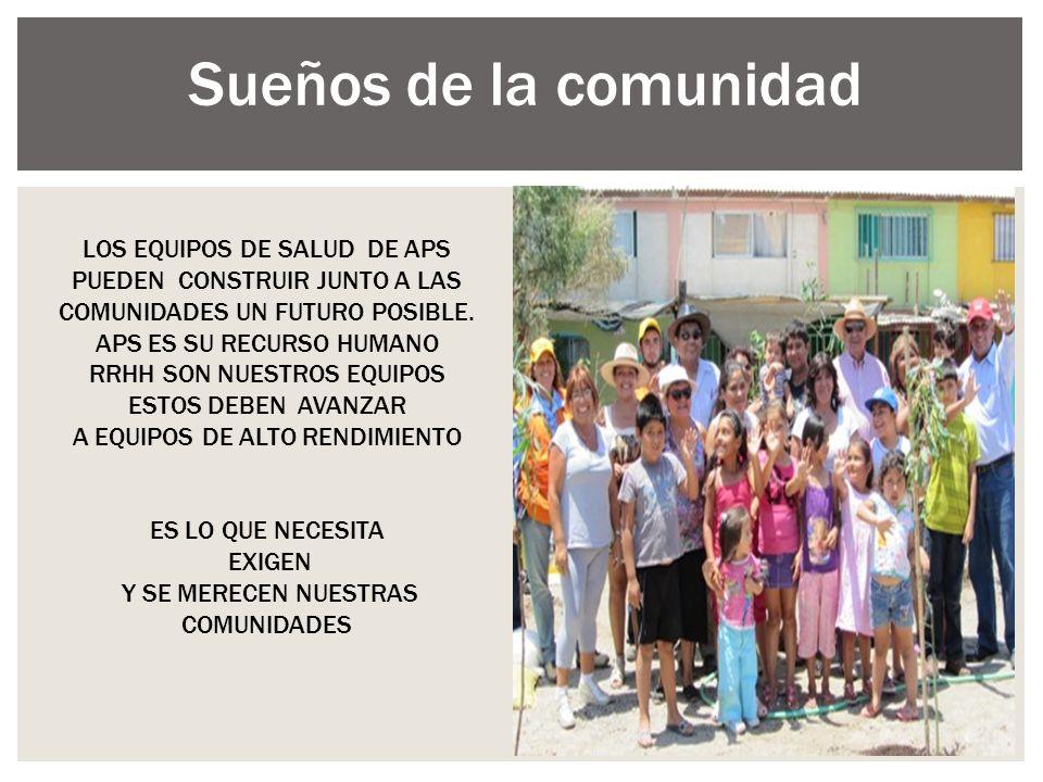LOS EQUIPOS DE SALUD DE APS PUEDEN CONSTRUIR JUNTO A LAS COMUNIDADES UN FUTURO POSIBLE. APS ES SU RECURSO HUMANO RRHH SON NUESTROS EQUIPOS ESTOS DEBEN