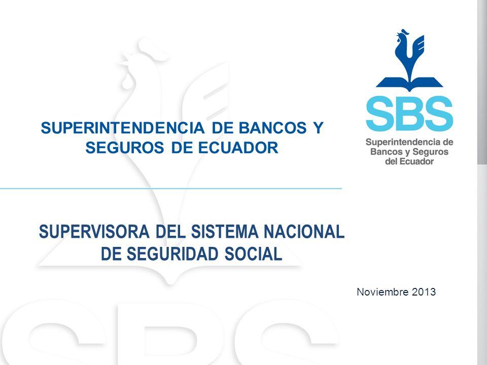 Noviembre 2013 SUPERINTENDENCIA DE BANCOS Y SEGUROS DE ECUADOR SUPERVISORA DEL SISTEMA NACIONAL DE SEGURIDAD SOCIAL