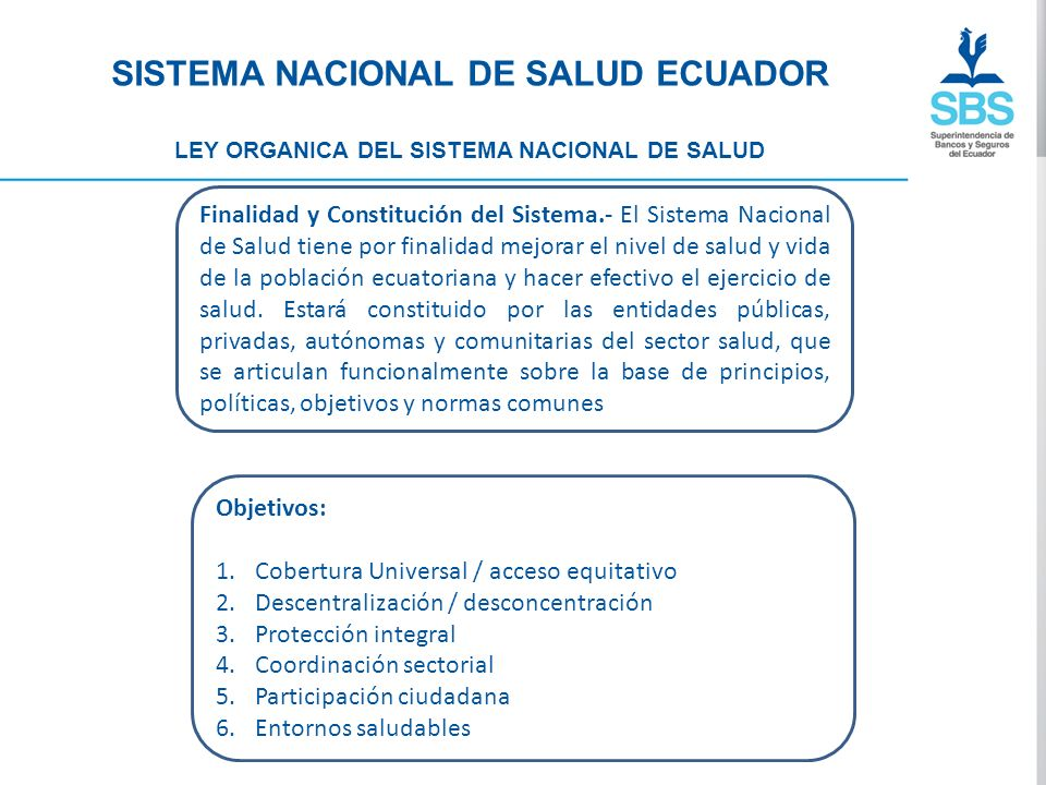 SISTEMA NACIONAL DE SALUD ECUADOR LEY ORGANICA DEL SISTEMA NACIONAL DE SALUD PRINCIPIOS: 1.Equidad 2.Calidad 3.Eficiencia 4.Participación 5.Pluralidad 6.Solidaridad 7.Universalidad 8.Descentralización 9.Autonomía