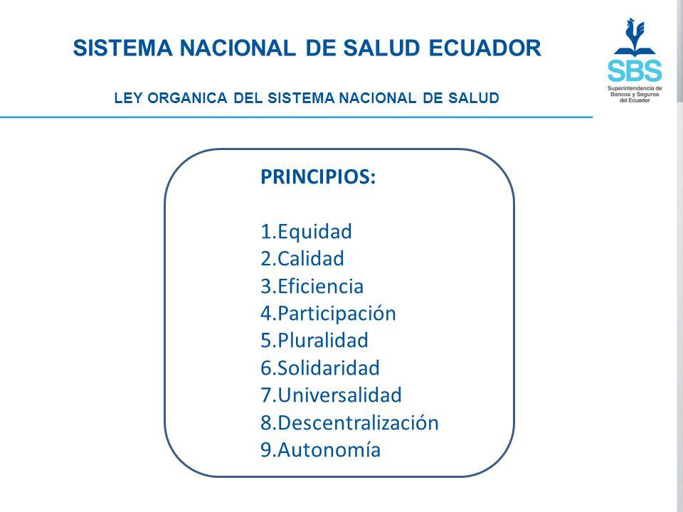 SISTEMA NACIONAL DE SALUD ECUADOR LEY ORGANICA DEL SISTEMA NACIONAL DE SALUD PRINCIPIOS: 1.Equidad 2.Calidad 3.Eficiencia 4.Participación 5.Pluralidad