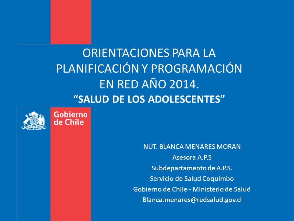ORIENTACIONES PARA LA PLANIFICACIÓN Y PROGRAMACIÓN EN RED AÑO 2014. SALUD DE LOS ADOLESCENTES NUT. BLANCA MENARES MORAN Asesora A.P.S Subdepartamento