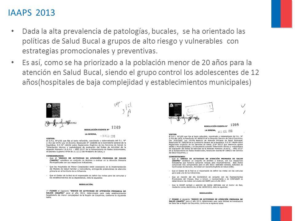 IAAPS 2013 Dada la alta prevalencia de patologías, bucales, se ha orientado las políticas de Salud Bucal a grupos de alto riesgo y vulnerables con est