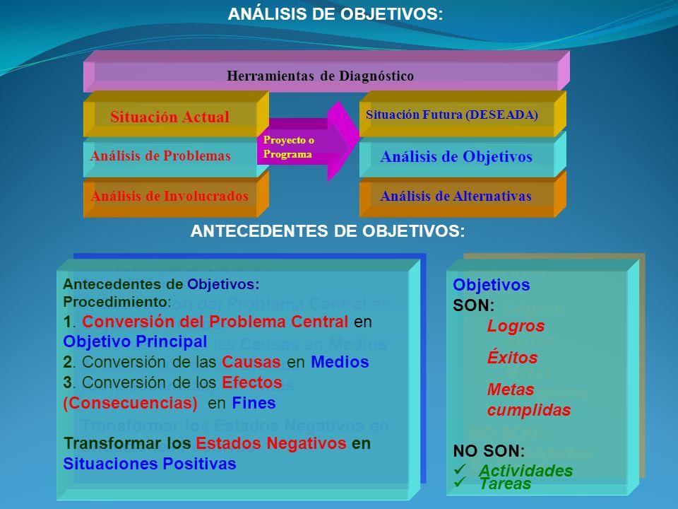 Herramientas de Diagnóstico Análisis de Involucrados Análisis de Problemas Proyecto o Programa Situación Actual Análisis de Alternativas Análisis de Objetivos Situación Futura (DESEADA) Objetivos SON: Logros Éxitos Metas cumplidas NO SON: Actividades Tareas Objetivos SON: Logros Éxitos Metas cumplidas NO SON: Actividades Tareas Antecedentes de Objetivos: Procedimiento: 1.