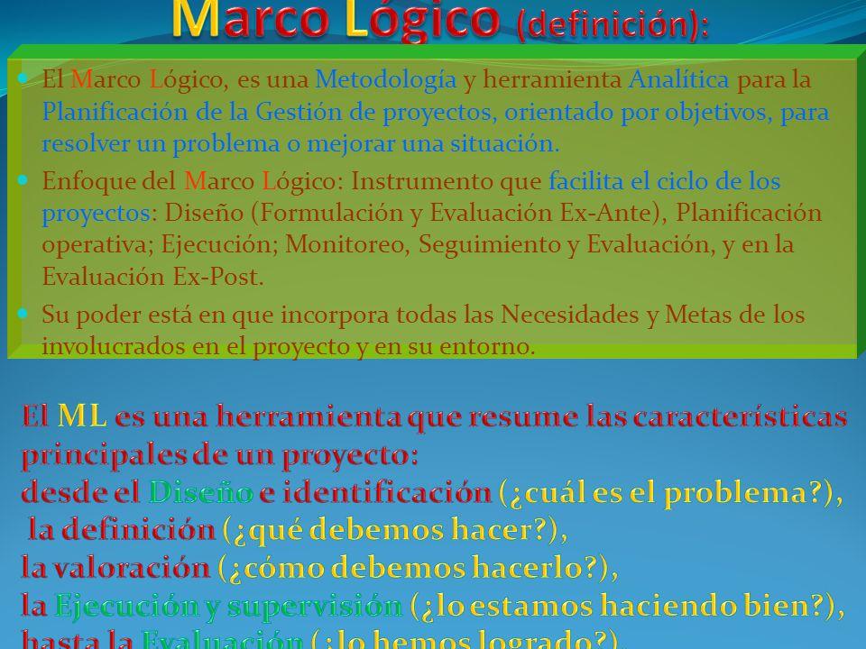 El Marco Lógico, es una Metodología y herramienta Analítica para la Planificación de la Gestión de proyectos, orientado por objetivos, para resolver un problema o mejorar una situación.