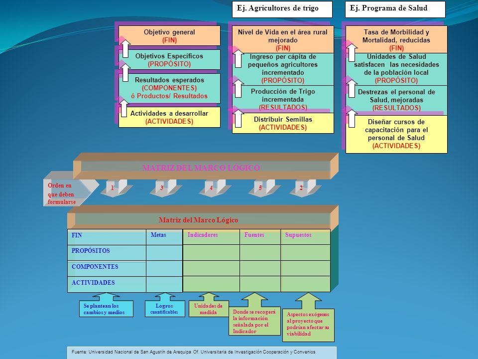 Resultados esperados (COMPONENTES) ó Productos/ Resultados Objetivos Específicos (PROPÓSITO) Actividades a desarrollar (ACTIVIDADES) Objetivo general