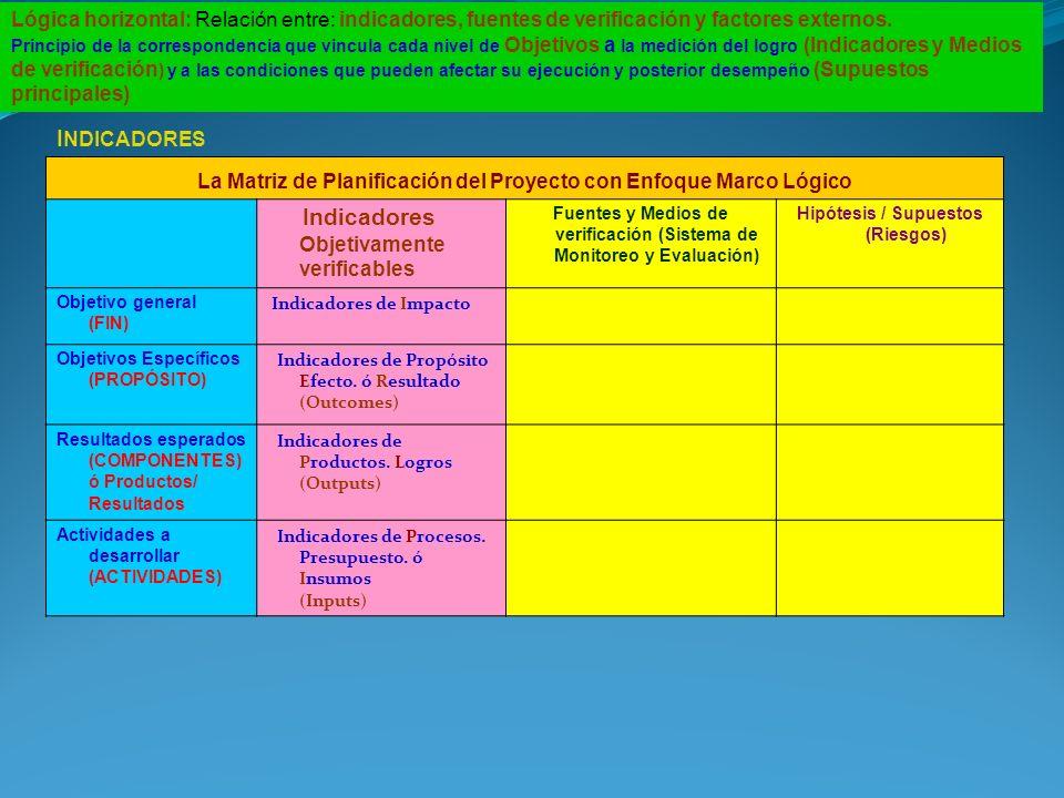 Lógica horizontal: Relación entre: indicadores, fuentes de verificación y factores externos. Principio de la correspondencia que vincula cada nivel de
