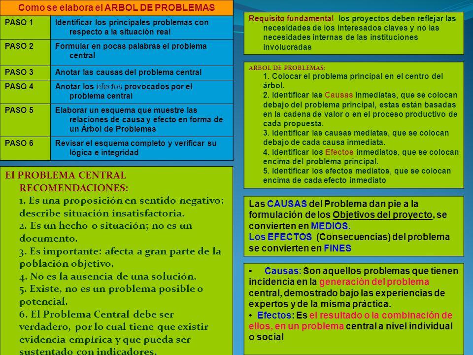 Como se elabora el ARBOL DE PROBLEMAS PASO 1Identificar los principales problemas con respecto a la situación real PASO 2Formular en pocas palabras el