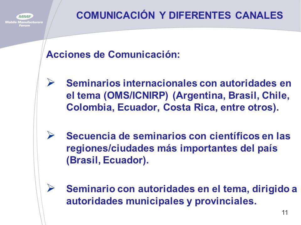 11 COMUNICACIÓN Y DIFERENTES CANALES Acciones de Comunicación: Seminarios internacionales con autoridades en el tema (OMS/ICNIRP) (Argentina, Brasil, Chile, Colombia, Ecuador, Costa Rica, entre otros).