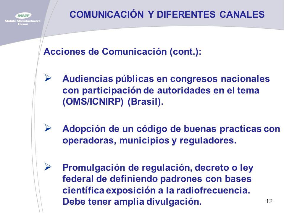 12 COMUNICACIÓN Y DIFERENTES CANALES Acciones de Comunicación (cont.): Audiencias públicas en congresos nacionales con participación de autoridades en el tema (OMS/ICNIRP) (Brasil).