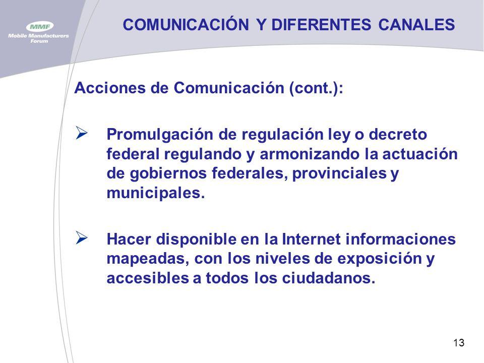 13 COMUNICACIÓN Y DIFERENTES CANALES Acciones de Comunicación (cont.): Promulgación de regulación ley o decreto federal regulando y armonizando la actuación de gobiernos federales, provinciales y municipales.