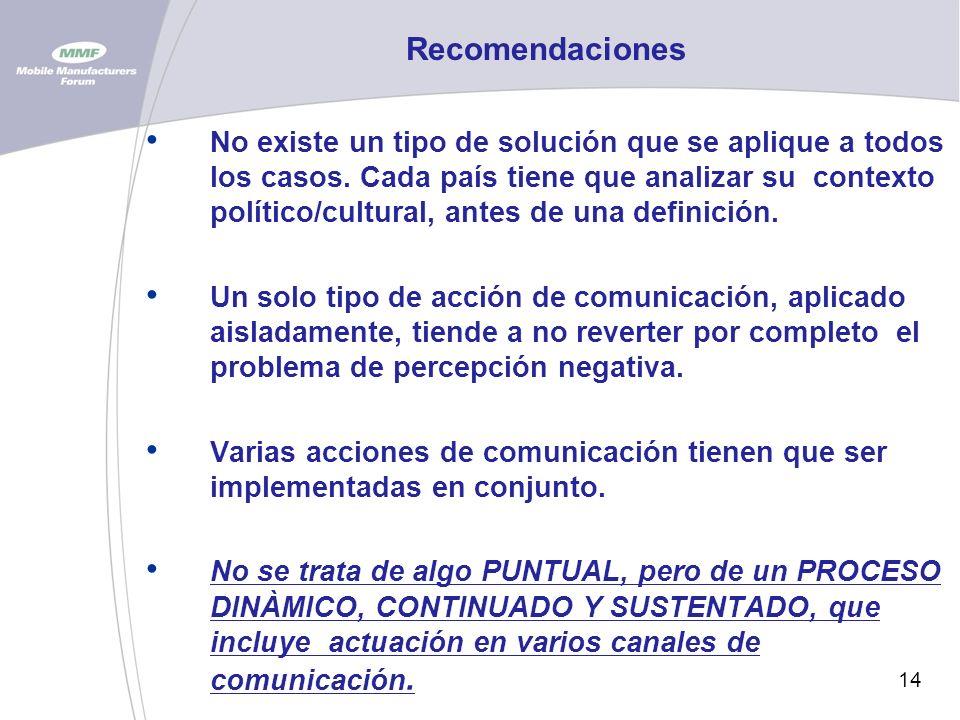 14 Recomendaciones No existe un tipo de solución que se aplique a todos los casos.