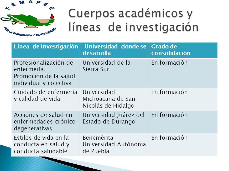 Línea de investigación Universidad donde se desarrolla Grado de consolidación Profesionalización de enfermería. Promoción de la salud individual y col