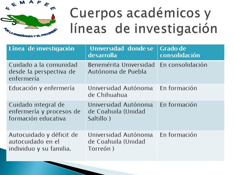 Línea de investigación Universidad donde se desarrolla Grado de consolidación Cuidado a la comunidad desde la perspectiva de enfermería Benemérita Uni
