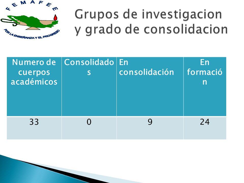 Numero de cuerpos académicos Consolidado s En consolidación En formació n 330924