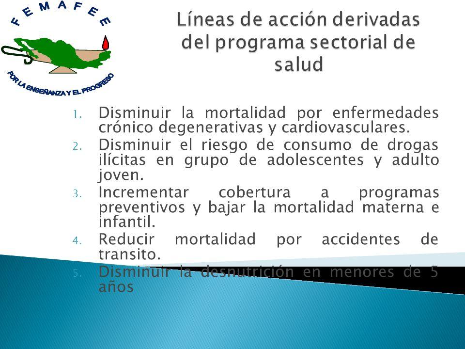 1. Disminuir la mortalidad por enfermedades crónico degenerativas y cardiovasculares. 2. Disminuir el riesgo de consumo de drogas ilícitas en grupo de